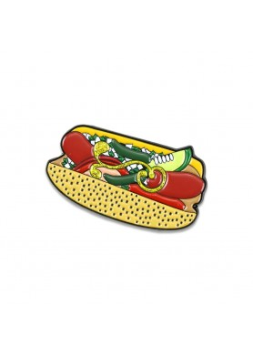 chicago style dog glitter pin