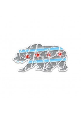 chicago mosaic bear gray pin